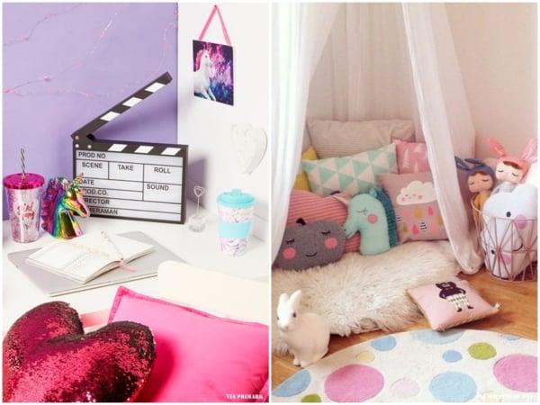 Opções de quartos decorados com tema unicórnio