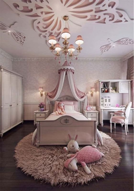 Panorama de quarto decorado com estilo princesa