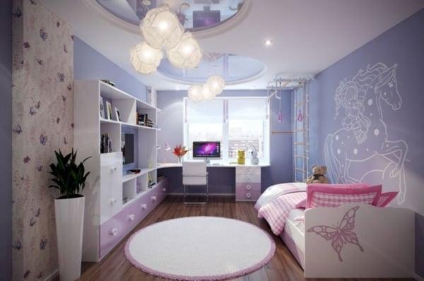 Panorama de quarto roxo de unicórnio