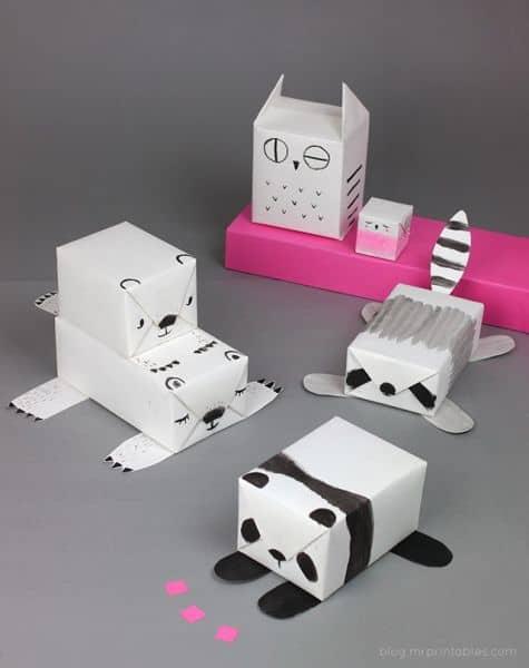 brinquedo com caixa de leite animais
