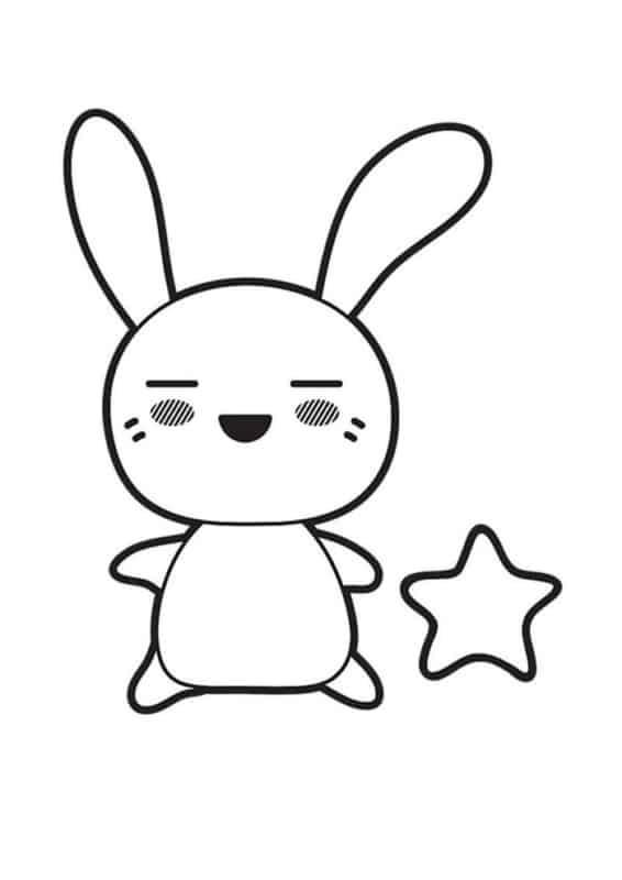 desenho de coelho kawaii para colorir