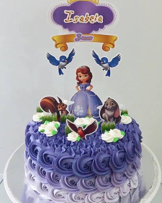 Bolo Mesversário princesa azul