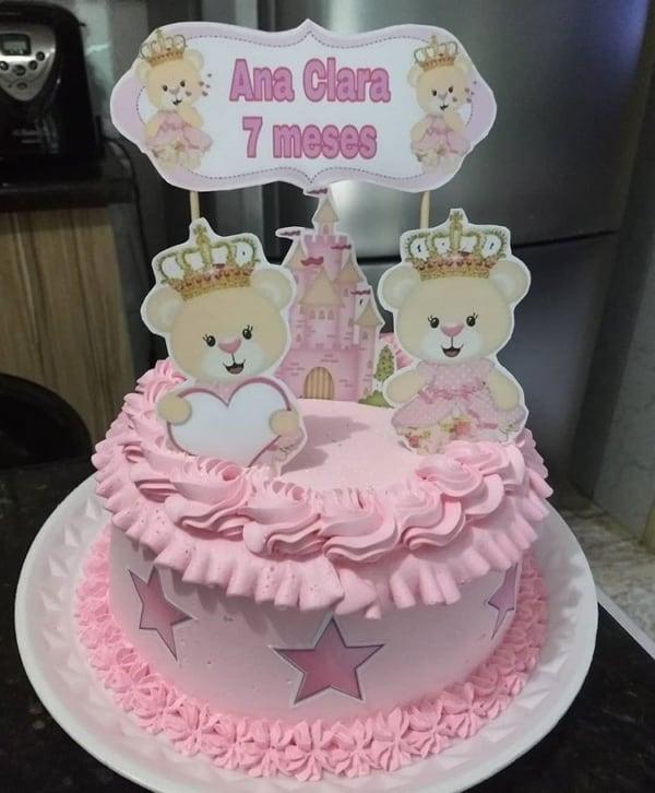 Bolo Mesversário princesa rosa
