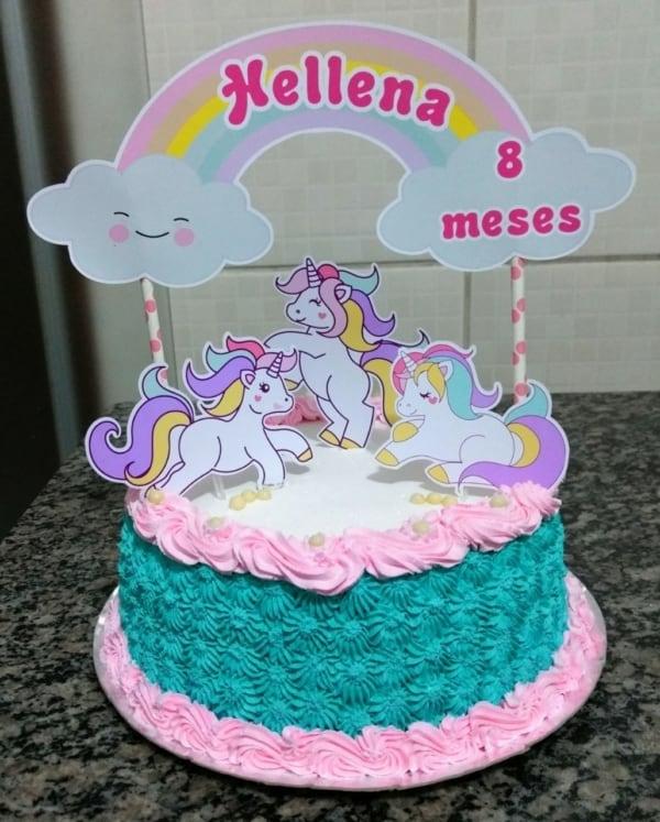 Bolo Mesversário unicornio ideias