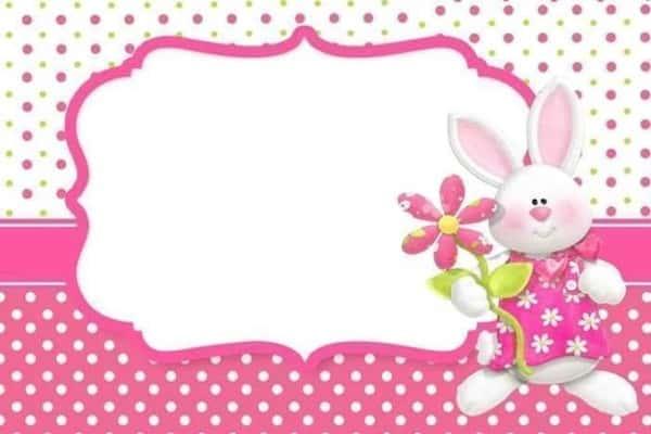 Convite Mesversário Páscoa cartão rosa e branco46