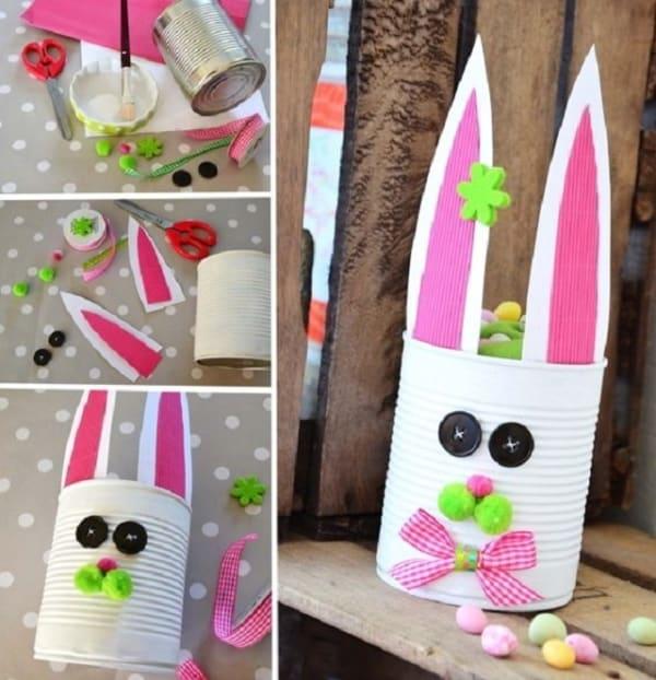 Latas decoradas para a Páscoa