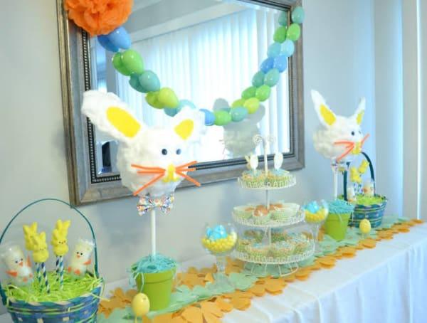 Mesversário Páscoa decoração com cestinhas decoradas5