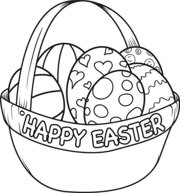 cesta de ovo de Páscoa para colorir