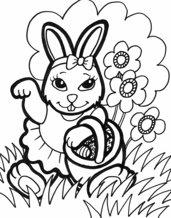 coelha da Páscoa para colorir
