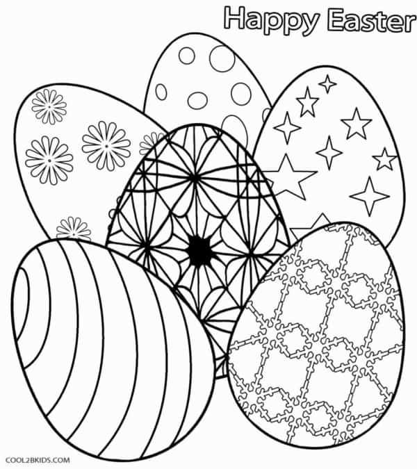 coleção de ovos de pascoa para colorir