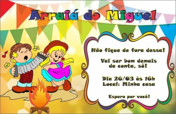 convite festa junina infantil simples
