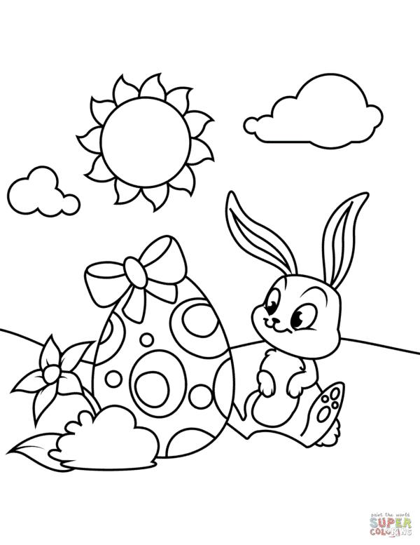 desenho de coelho da Páscoa para colorir