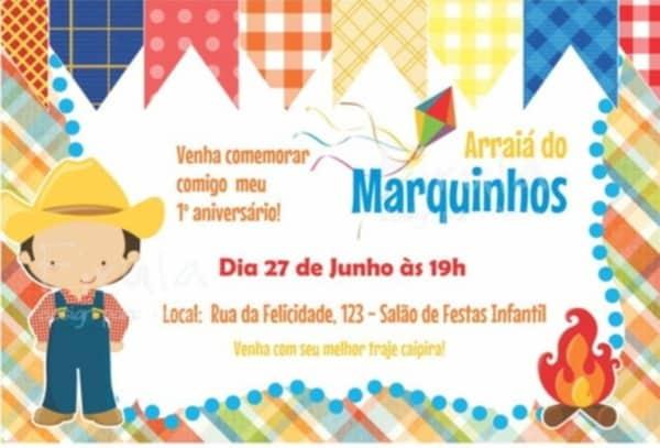 lindo convite festa junina infantil