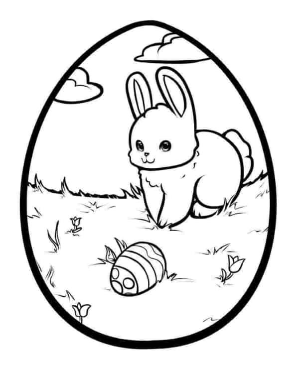 ovo de Páscoa para colorir com cenario