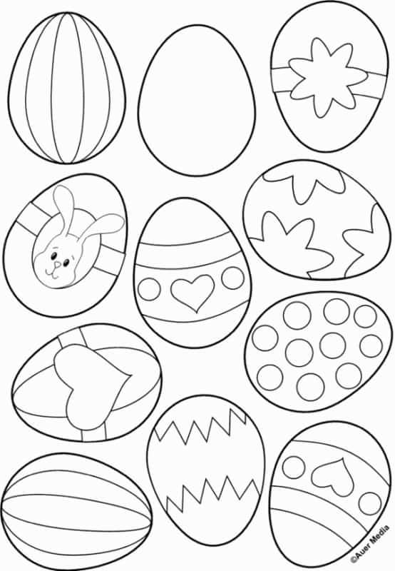 varios ovos de pascoa para colorir