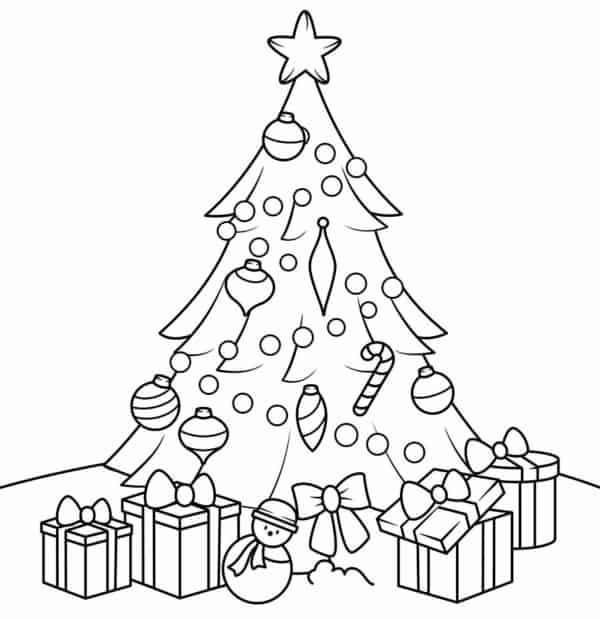 Árvores de Natal com presentes para colorir