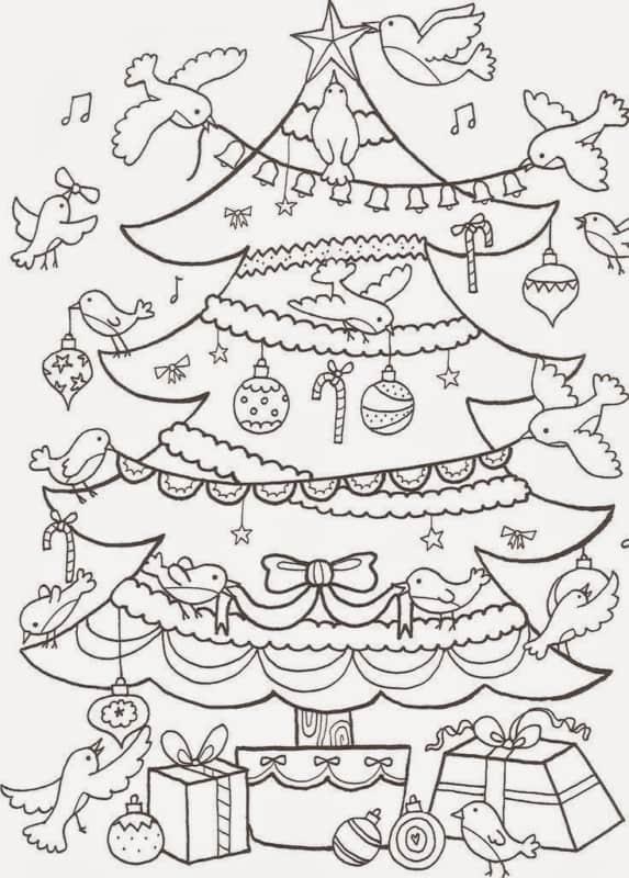 Árvore de Natal com passarinhos
