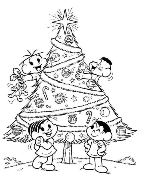 Turma da Mônica com árvore de Natal