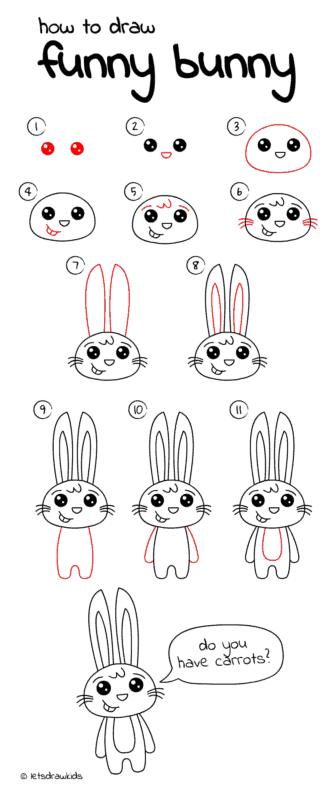 como desenhar um coelho em pé