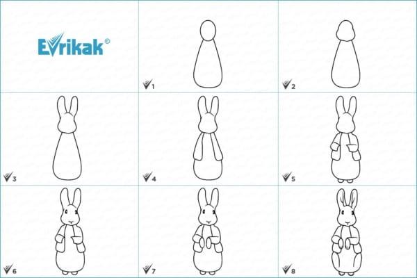 desenho passo a passo de um coelho em pé