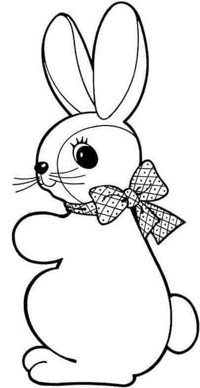 desenho simples de coelho com laço