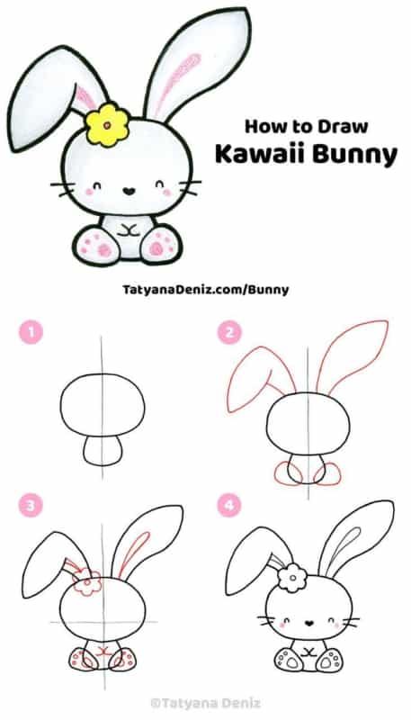 como desenhar um coelho kawaii
