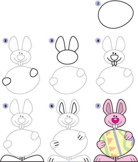 passo a passo para desenhar um coelho da páscoa com ovo