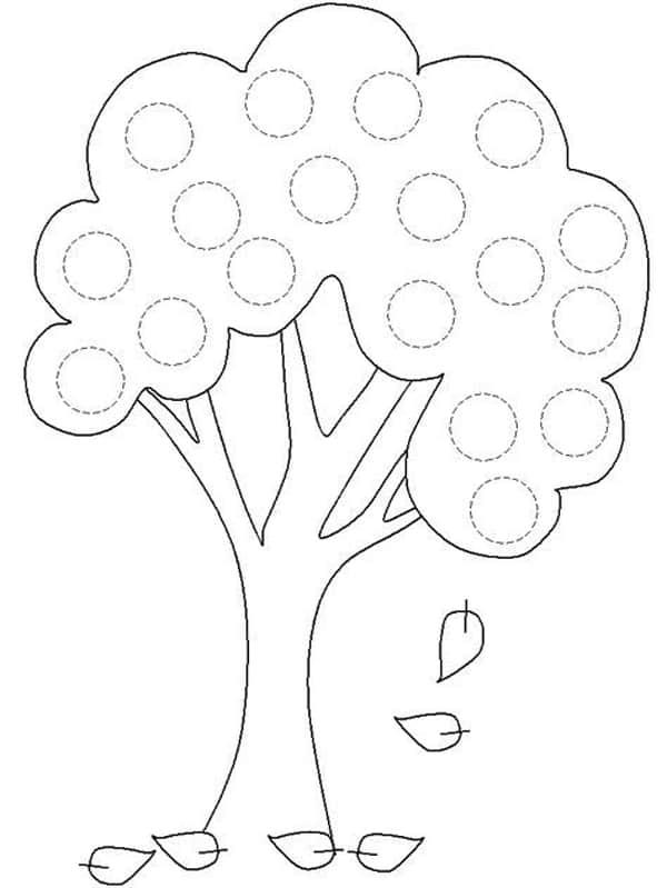 Árvore frutífera com folhas caindo