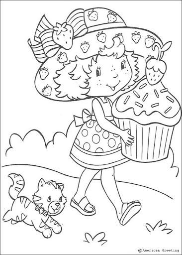 desenho para pintar da Moranguinho com chapéu