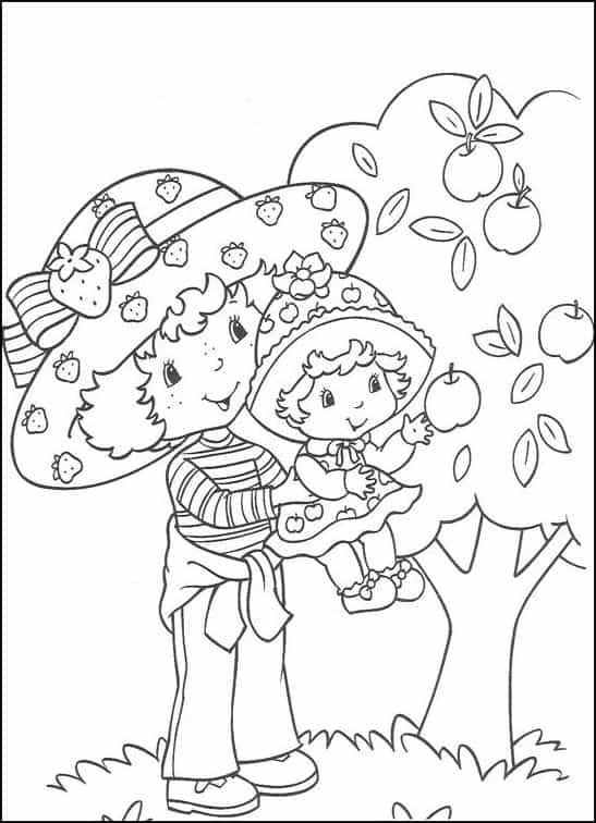 desenho da Moranguinho com a Maçazinha