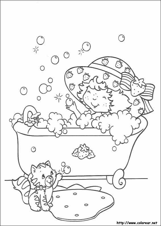 desenho da Moranguinho tomando banho para pintar