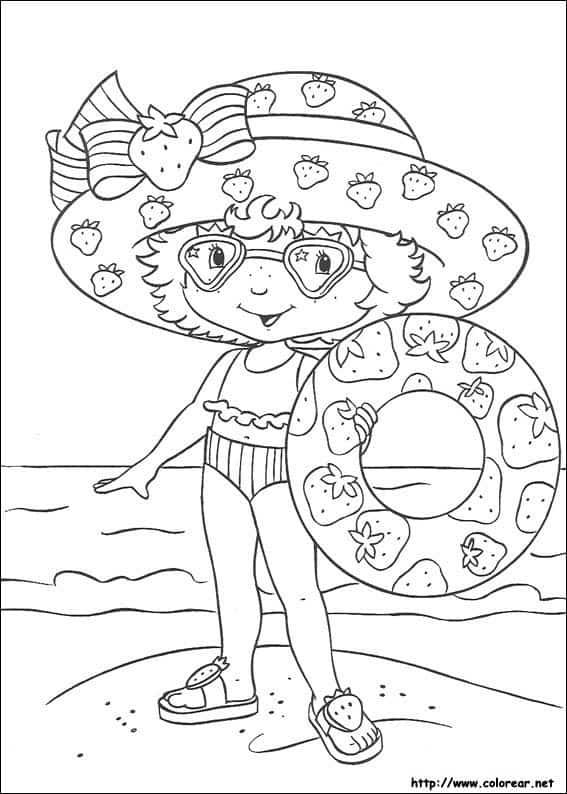 desenho da Moranguinho na praia