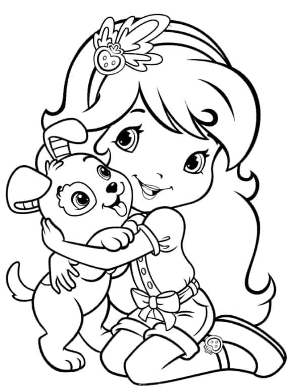 desenho da Moranguinho com cachorro para colorir