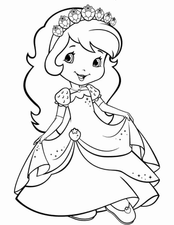 desenho da Moranguinho de princesa para colorir