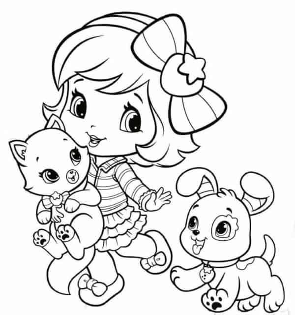 desenho da Moranguinho com animais para colorir