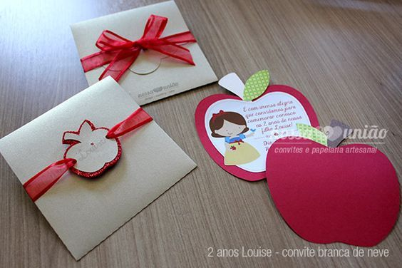 Convite Branca de Neve cute de maçã