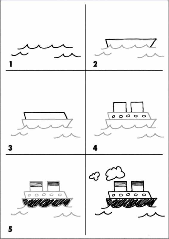 Desenhos fáceis barco