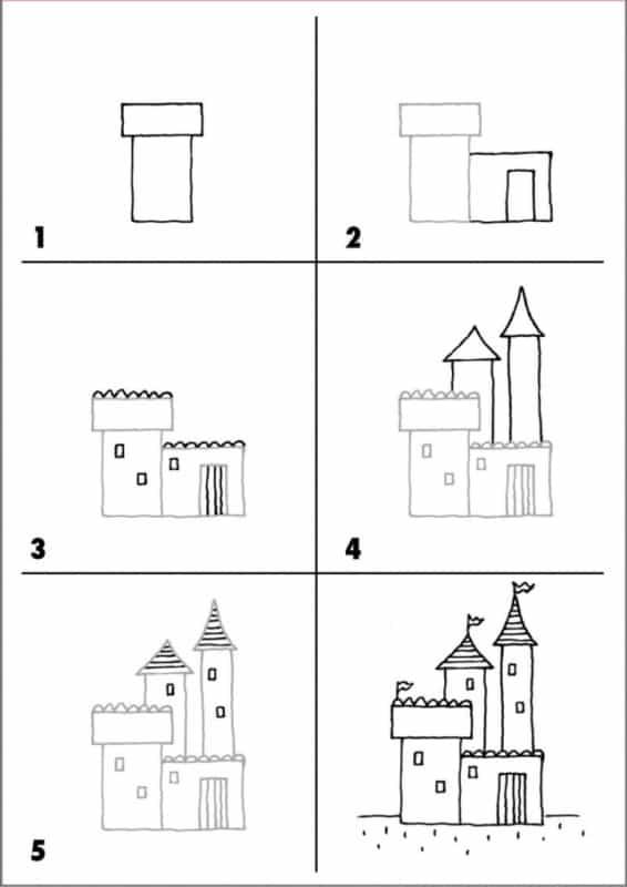 Desenhos fáceis castelo