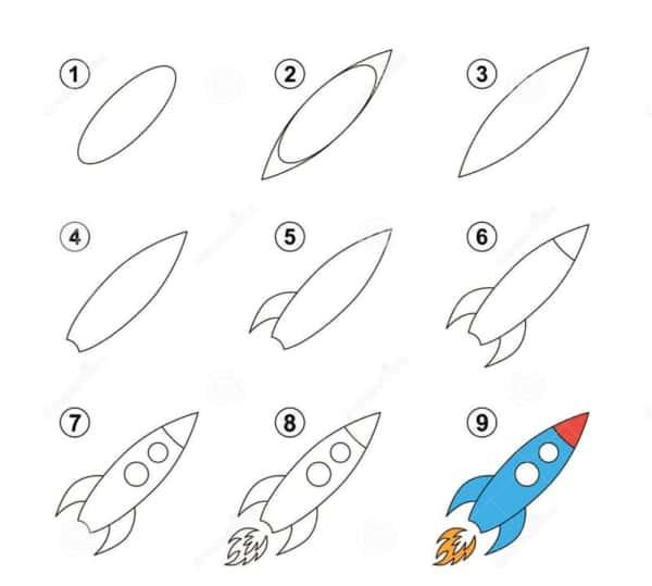 Desenhos fáceis foguete