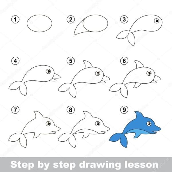 Desenhos fáceis golfinho