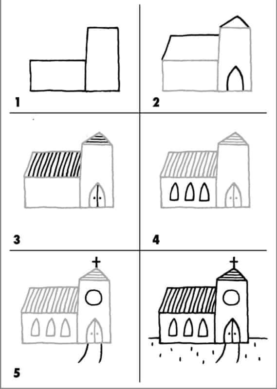 Desenhos fáceis igreja