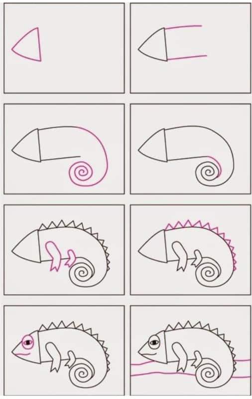 Desenhos fáceis lagarto