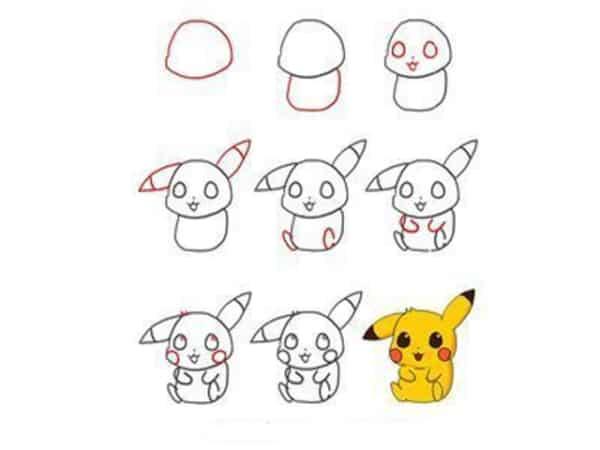 Desenhos fáceis pikachu