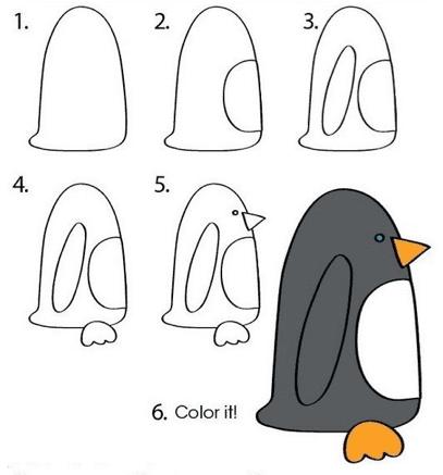 Desenhos fáceis pinguim