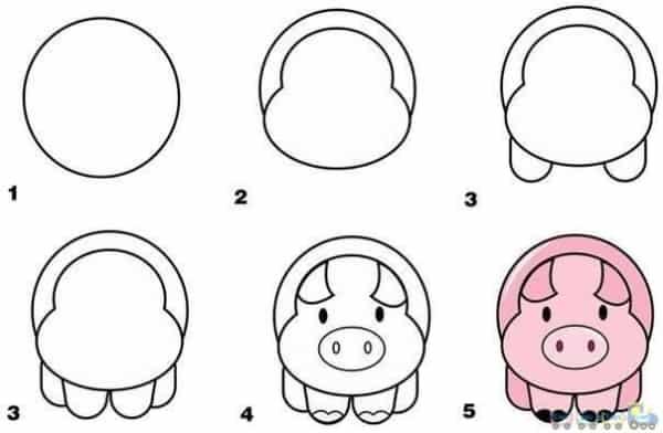 Desenhos fáceis porco
