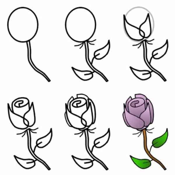 Desenhos fáceis rosas