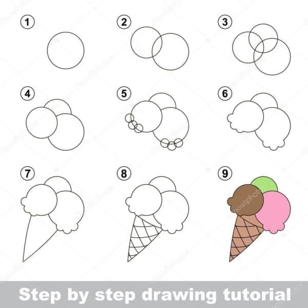Desenhos fáceis sorvete