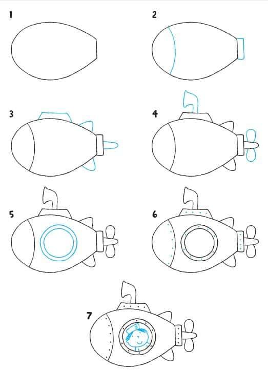 Desenhos fáceis submarino