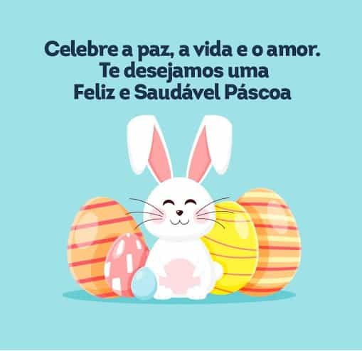 mensagens de Páscoa para crianças com coelho