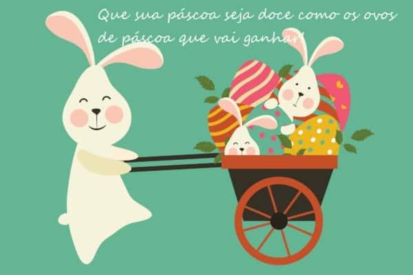 mensagens de Páscoa para crianças com ovos e coelho